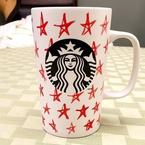 Starbucks 2014 Mug White Red Stars 16 oz